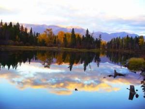 Montana Sunset River Reflection.