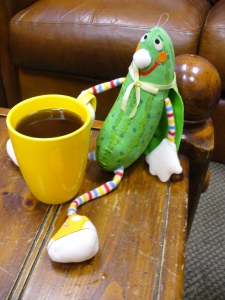 Super Pickle enjoys a cup of Java.